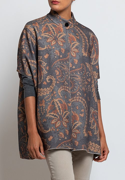 Etro Wool/ Angora Felted Reversible Paisley Jacket in Grey