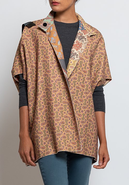 Etro Wool/Angora Felted Reversible Paisley Jacket in Multicolor
