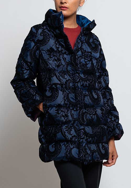 Etro Paisley Velvet Down Coat in Midnight