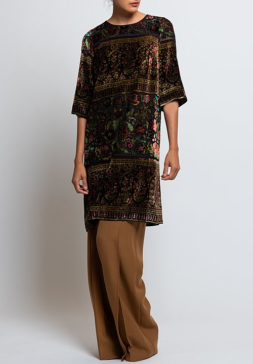 Etro Silk Velvet Devore Shift Dress in Black