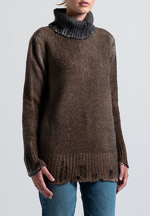 Avant Toi Destroyed Edge Turtleneck Sweater in Nero/ Suede