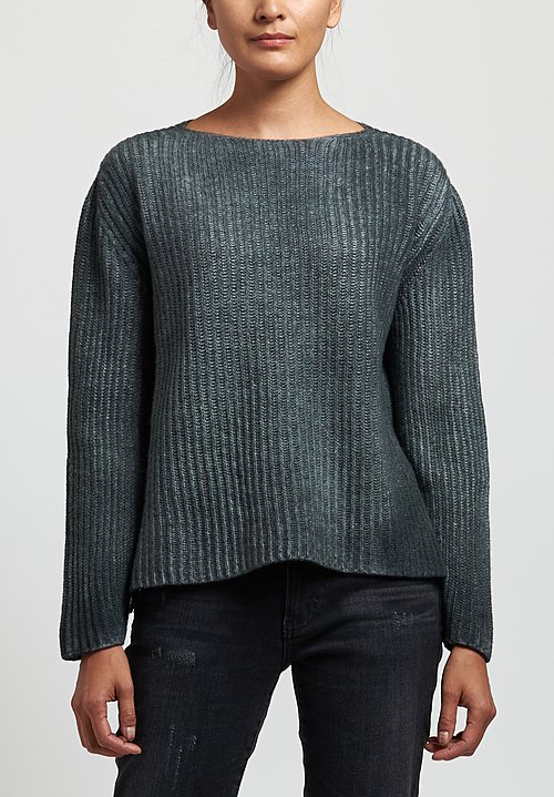 Avant Toi Fisherman's Sweater in Nero/Salice