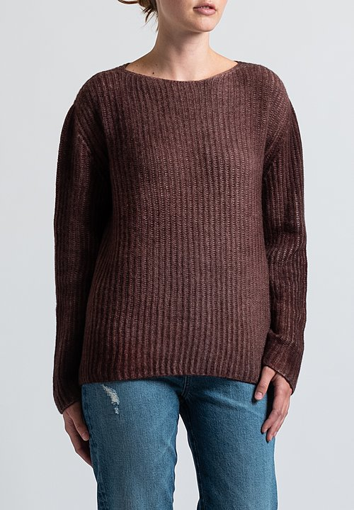 Avant Toi Fisherman's Sweater in Nero/ Brick