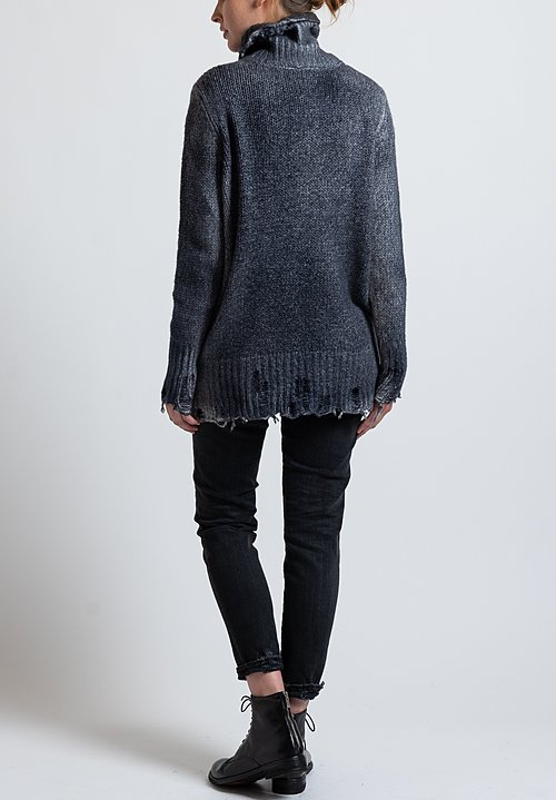 Avant Toi Destroyed Edge Turtleneck Sweater in Nero/ Blu Navy