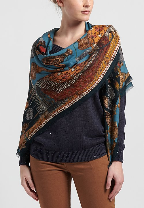 Sabina Savage Cashmere Dog's Treasure Scarf in Cobalt/ Gold