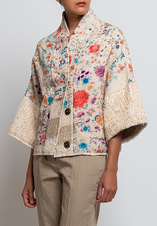 By Walid Piano Shawl Cassie Jacket in Teal/ Cream