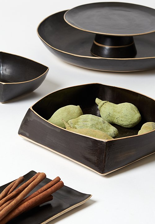 Laurie Goldstein Ceramic Sushi Plate in Black