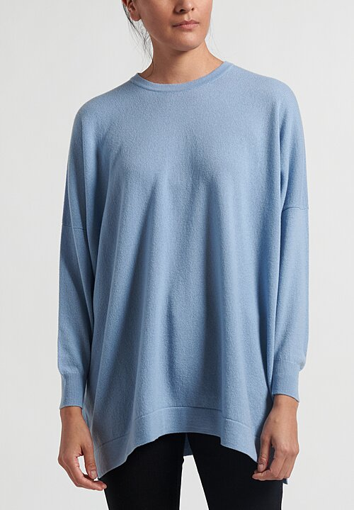 Hania New York Cashmere Marley Crewneck in Woad Blue