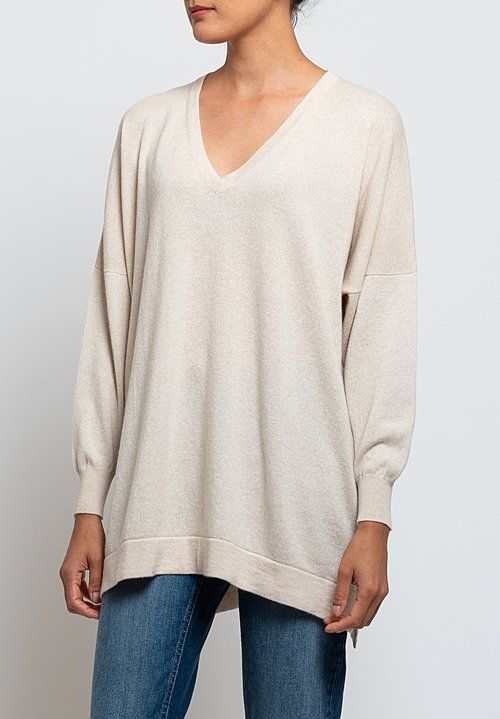 Hania New York Marley Cashmere V-Neck Sweater in Canvas