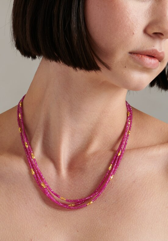Greig Porter 18K, Burmese Ruby Short 3 Stand Necklace