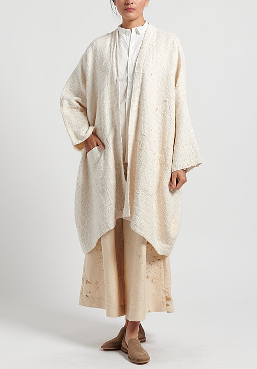 Kaval Japanese Vintage Silk Woven Haori Big Coat in Natural