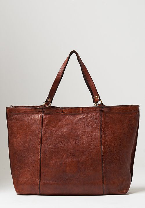 Campomaggi Large Rectangle Shopping Bag in Cognac