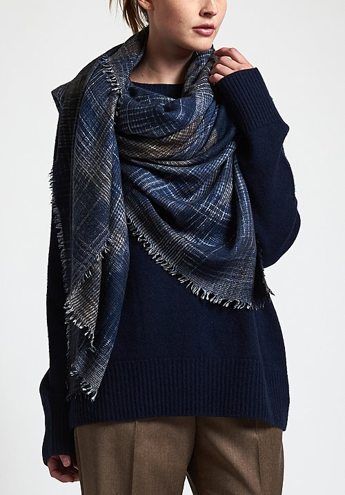 Alonpi Cashmere Hand-Painted Odissea Scarf in Navy