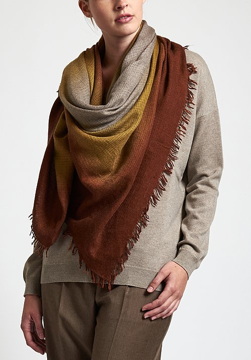 Alonpi Cashmere Hand-Painted Laia Scarf in Brown