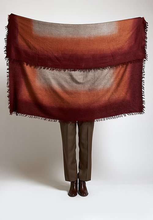 Alonpi Cashmere Hand-Painted Laia Scarf in Maroon