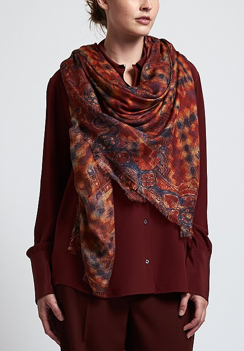 Alonpi Cashmere Printed Scarf in Crossline