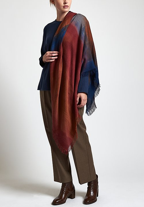 Alonpi Cashmere Hand-Painted Lodo Scarf in Red / Blue