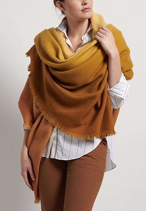 Alonpi Cashmere Soleil Degrade Fringed Shawl in Amber