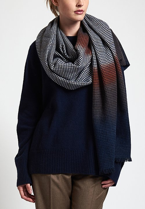 Alonpi Cashmere Hand-Painted Attica Scarf in Navy