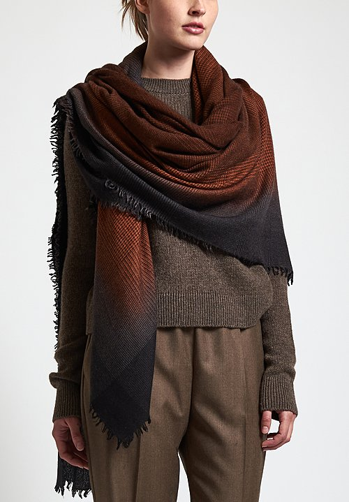 Alonpi Cashmere Hand-Painted Plaid Shawl in Orange