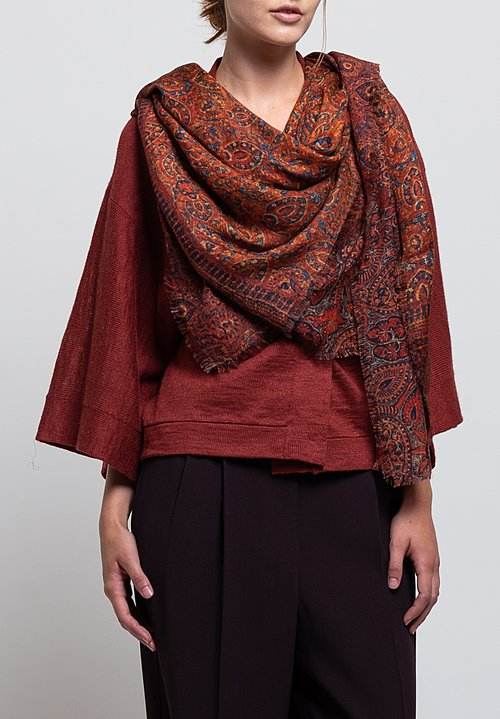 Alonpi Cashmere Printed Scarf in Indired Red