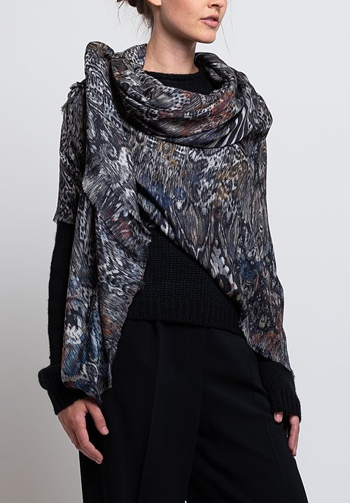 Alonpi Cashmere Printed Scarf in Linus Grey