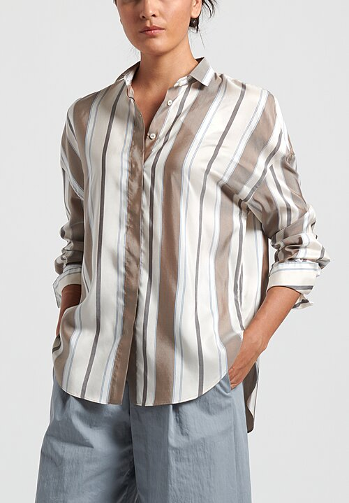 Brunello Cucinelli Striped Poplin Shirt in Sand