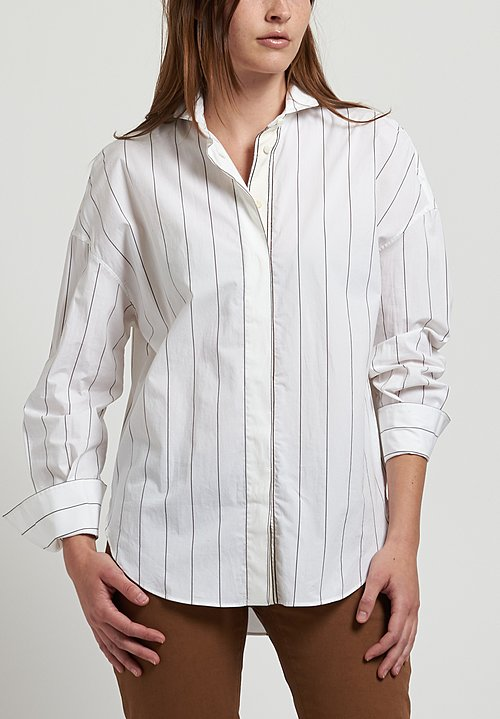 Brunello Cucinelli Monili Striped Shirt in White