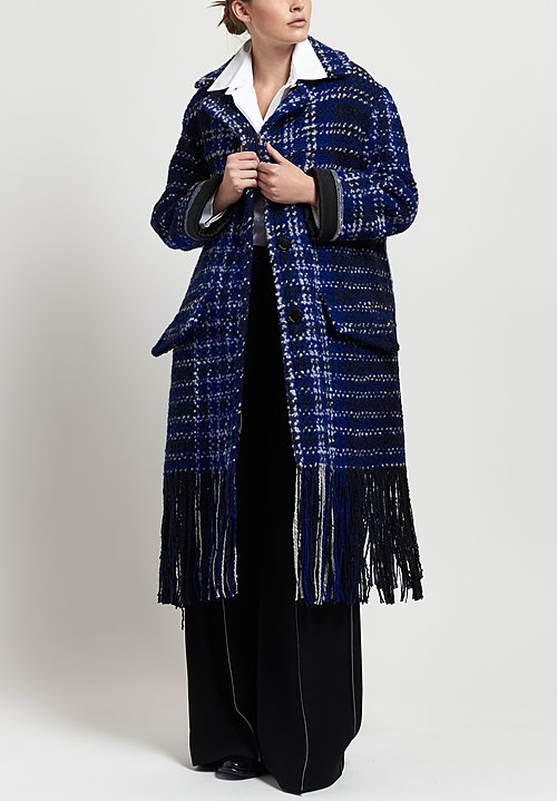 Marni Tweed Blanket Coat in Electric Blue
