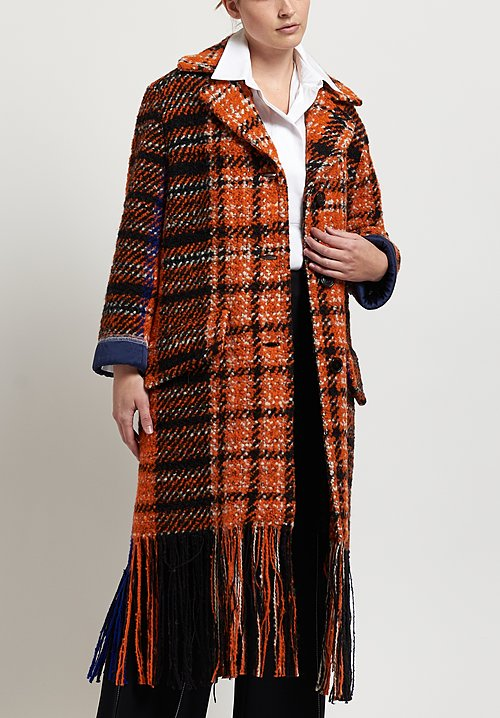 Marni Tweed Blanket Coat in Carrot