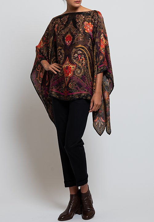 Etro Paisley & Floral Poncho in Black
