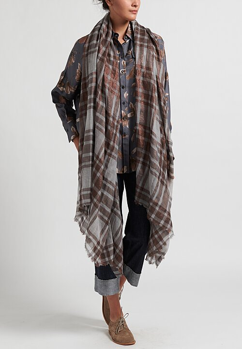 Brunello Cucinelli Lightweight Plaid & Metallic Scarf Grey/ Bronze