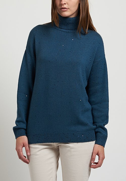 Brunello Cucinelli Sequin Turtleneck Sweater in Smoky Blue