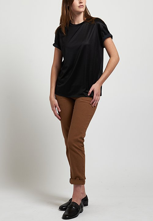 Brunello Cucinelli Rolled Sleeve Top in Black