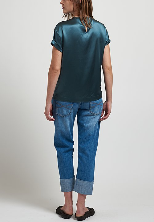 Brunello Cucinelli Satin T-Shirt in Teal