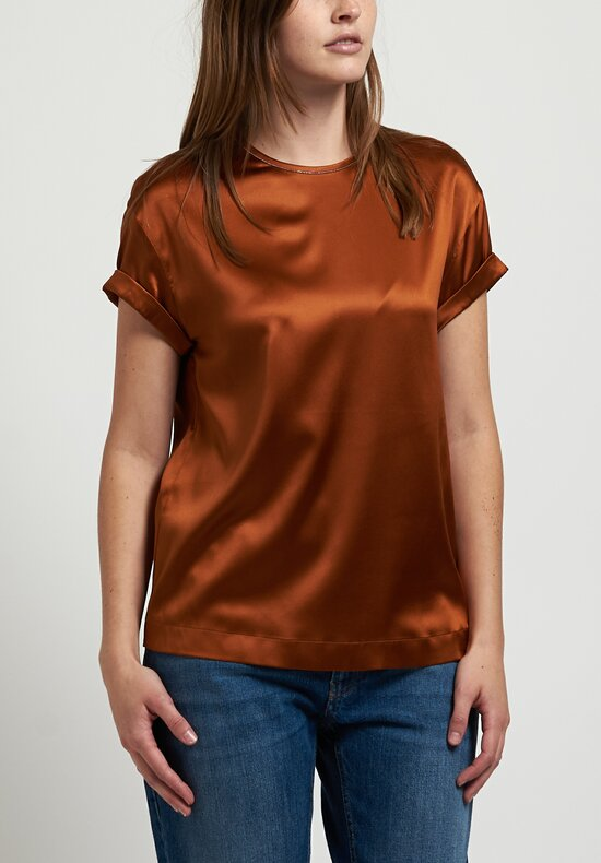Brunello Cucinelli Satin T-Shirt in Copper