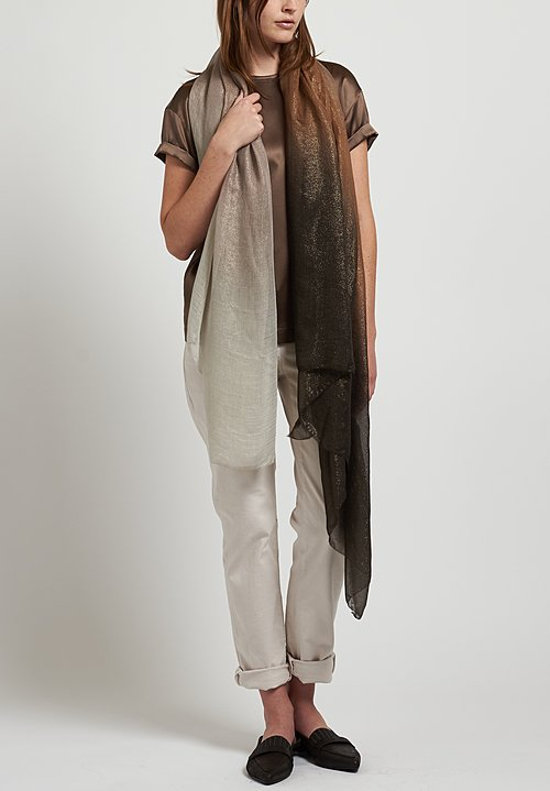 Brunello Cucinelli Satin T-Shirt in Taupe