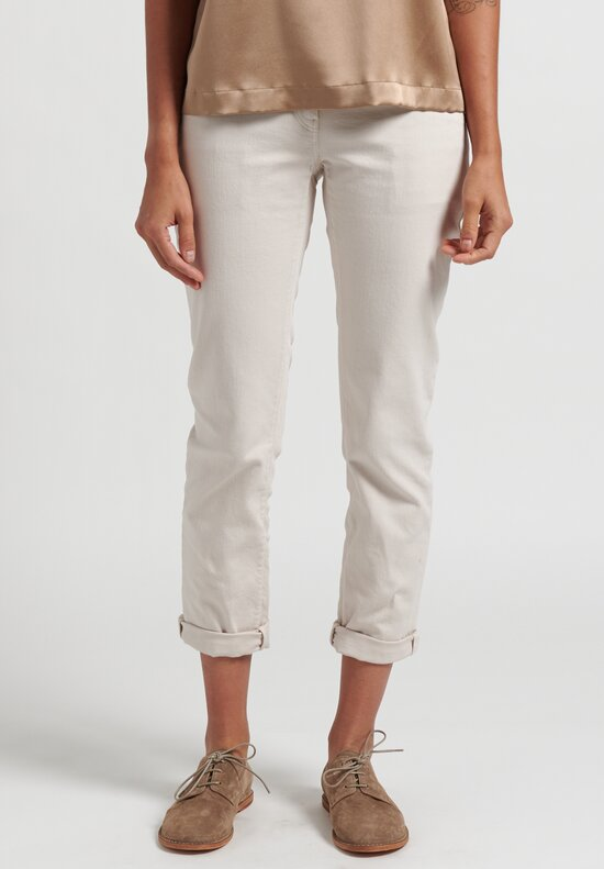 Brunello Cucinelli Slim Fit & Straight Jeans in Off White