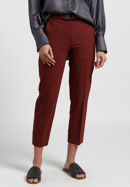 Brunello Cucinelli Belted Cigarette Trousers in Brick