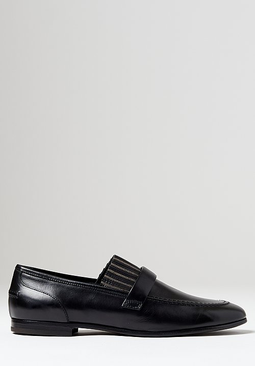 Brunello Cucinelli Calfskin Monili Loafers in Black