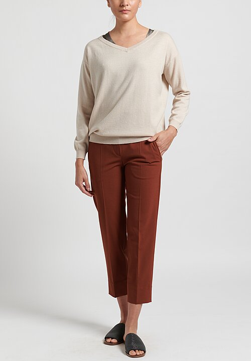 Brunello Cucinelli Virgin Wool Blend Tapered Pants in Rust