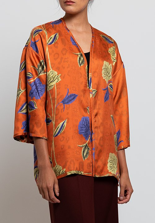 Etro Reversible Twill Kesa Jacket in Leopard/ Flower
