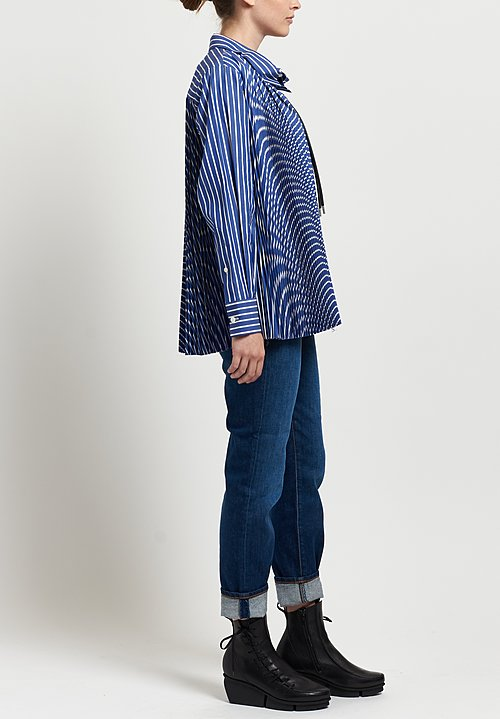 Sacai Pleated Poplin Shirt in Blue Striped