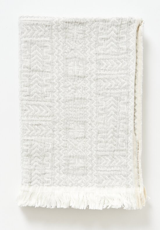 Uniq'uity Linen Akka Throw in White / Grey