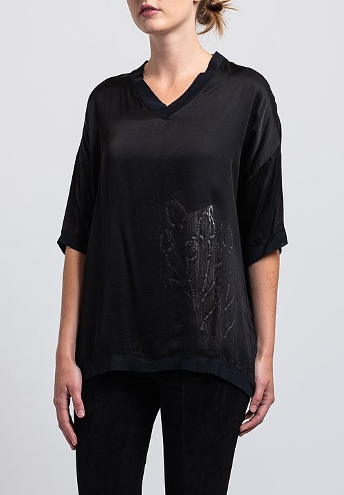 Jaga Satin Hand-Painted Flower Top in Black