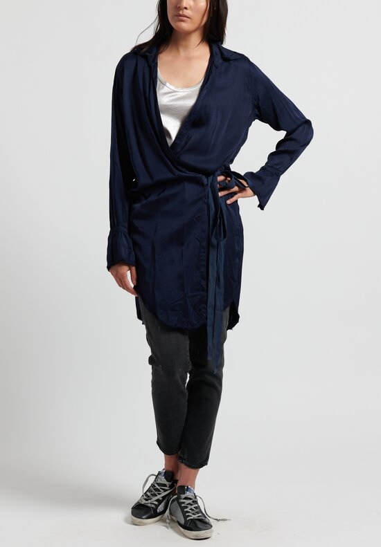 Jaga Satin Duster in Navy