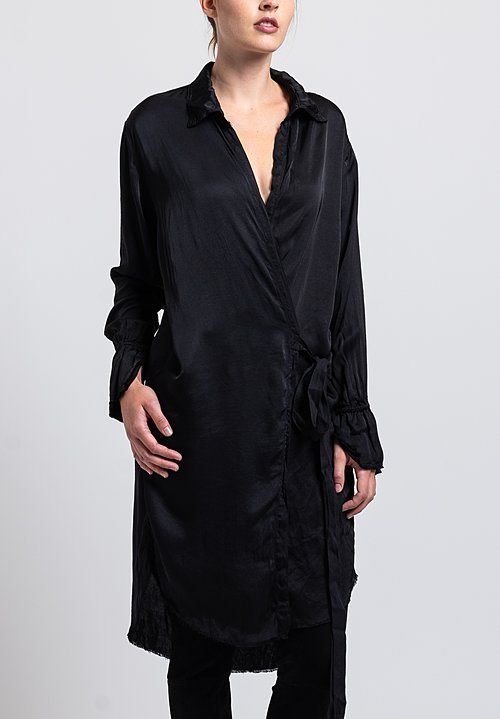 Jaga Satin Long Lightweight Duster in Black