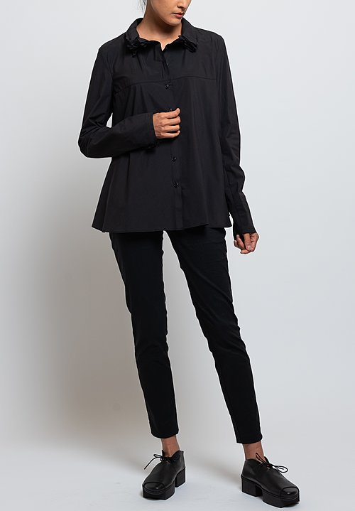 Rundholz Oversized Layered Collar Shirt in Black