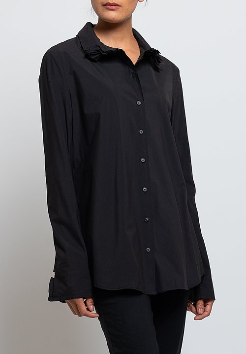 Rundholz Layered Collar Shirt in Black