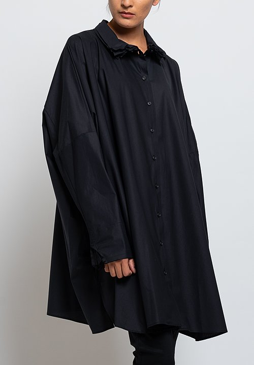 Rundholz Long Oversized Layered Collar Shirt in Black
